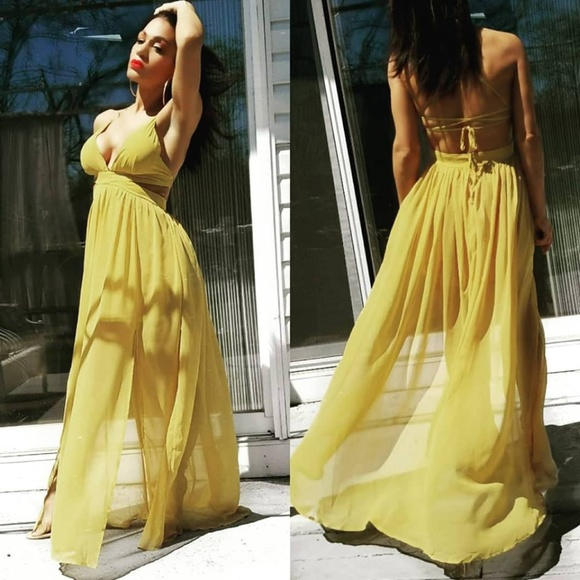 a308ec79a4b Split Side Chiffon Maxi Dress - Mustard